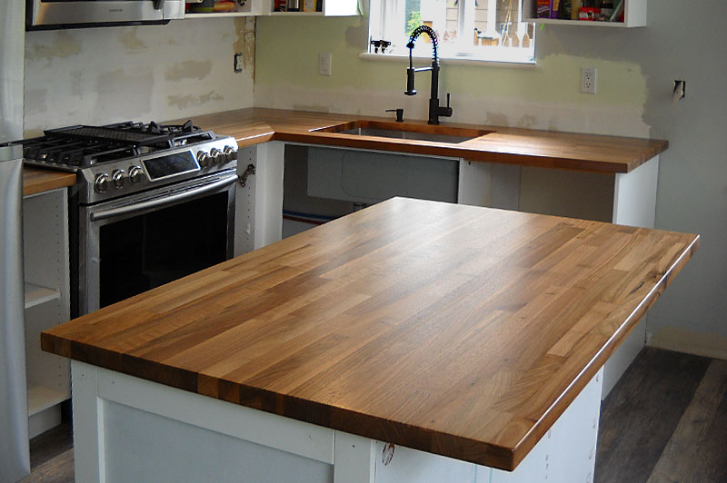 Finger jointed kitchen island tops and countertops.