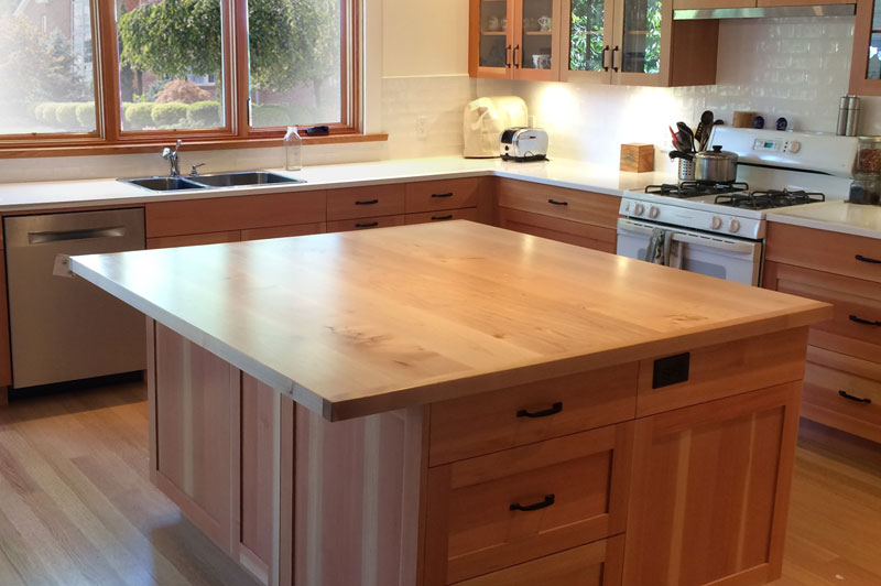Wide planks maple kitchen island tops and countertops