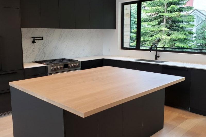 Wide planks kitchen island tops